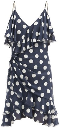 Balmain Ruffled Polka-dot Silk Mini Dress - Navy Multi