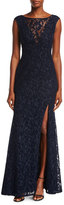 Aidan Mattox Cap-Sleeve Lace Evening Gown w/ High Slit
