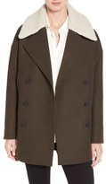 Andrew Marc Women's Cocoon Coat With Faux Shearling Collar