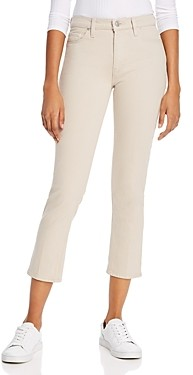 Hudson Barbara High-Rise Cropped Straight Jeans in Ivory