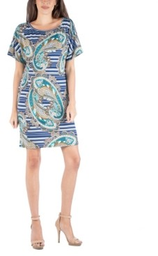 24seven Comfort Apparel Women's Loose Fit Paisley T-Shirt Dress