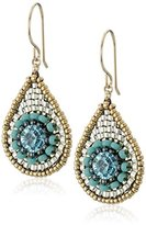 Miguel Ases Small Turquoise Raised Swarovski Center TearDrop Earrings