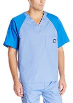 U.S. Polo Assn. Men's Raglan Sleeve V-Neck Two-Toned Scrub Top