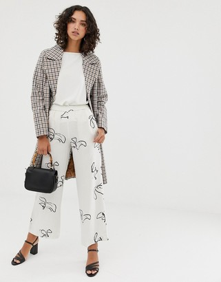 Selected printed wide leg trousers with elasticated waist-White