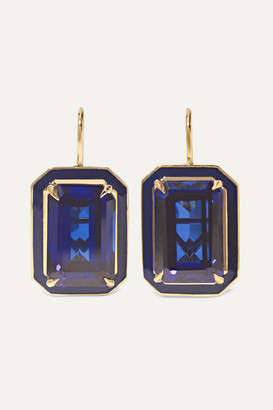 Alison Lou Cocktail 14-karat Gold, Sapphire And Enamel Earrings - one size