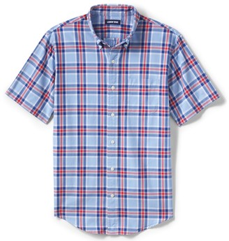 Lands' End Men's Traditional-Fit Essential Lightweight Plaid Poplin Button-Down Shirt