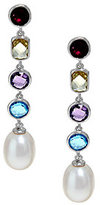 Honora As Is Cultured Pearl 9.0mm & Multi- gemstone Sterl. Drop Earrings
