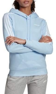 adidas Three-Stripe Drawstring Fleece Hoodie