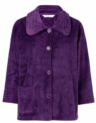 Slenderella Ladies 3/4 Sleeve Collared Medium Soft Plum Purple Coral Fleece Button Up Bed Jacket Medium 12 14