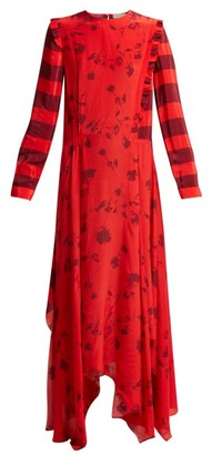 Preen Line Hebe Floral-print Handkerchief-hem Dress - Red Multi
