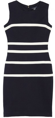 Tommy Hilfiger Striped Sleeveless Pique Sheath Dress