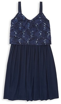 Un Deux Trois Girl's Sequin & Lace Popover Dress