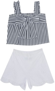 Rare Editions Baby Girls 2-Pc. Striped Cotton Top & Shorts Set