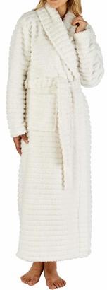 "Slenderella Ladies 52"" / 132cm Soft Cream Fleece Shawl Collar Dressing Gown Robe Two Patch Pockets Self Tie Belt Small 10 12"