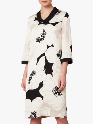 Jaeger Floral Print Shift Dress, Neutral/Black