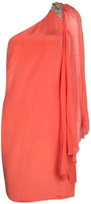 Marchesa Orange Silk Embellished Draped Sleeve Detail One Shoulder Dress M