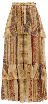 Etro Tiered Paisley-print Silk-chiffon Maxi Skirt - Beige Multi