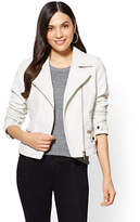 New York & Co. Faux-Leather Moto Jacket - White