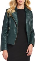 Calvin Klein Faux Leather Quilt Stitch and Seamed Moto Jacket