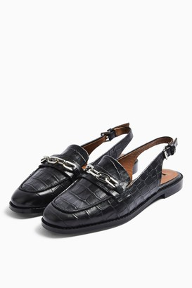 Topshop LISBON Black Leather Slingback Loafers