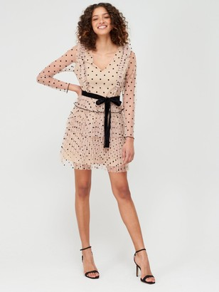 Very Spotted Mesh Ruffle Tie Waist Mini Dress - Nude