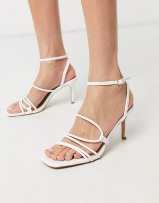 Stradivarius strappy heeled sandal in white