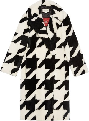 Gucci Houndstooth Shearling Coat