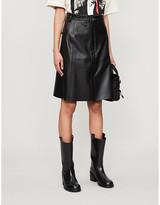 Acne Studios Asymmetric high-waist leather midi skirt