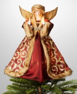 "Holiday Lane 14"" Porcelain & Polyester Angel in Red Dress & Hat Christmas Tree Topper with Led Lights, Created for Macy's"