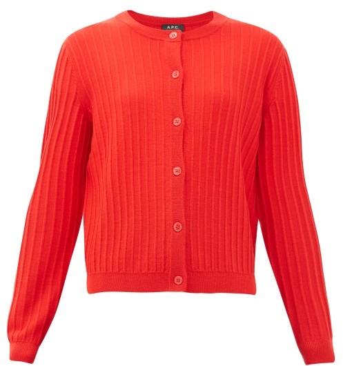 A.P.C. Vicky Merino-wool Cardigan - Womens - Red
