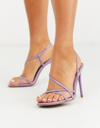 Asos Design DESIGN Notorious strappy heeled sandals in lilac-Purple
