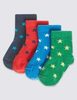 Marks and Spencer 4 Pairs of Cotton Rich StaySoftTM Star Bright Socks (0-24 Months)