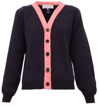 Comme des Garcons Contrast-trim Knitted Cardigan - Womens - Navy Multi