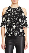 Polo Ralph Lauren Short Sleeve Cold-Shoulder Printed Silk Blouse
