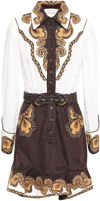 Zimmermann Embroidered Linen-canvas And Ramie Mini Dress