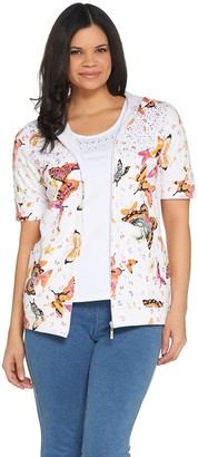 Quacker Factory Butterfly Printed Knit Hoodie and Tank Set