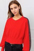 J.ING Depp Red Black Panel Sweater
