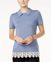 Tommy Hilfiger Lace-Trim Knit Top, Only at Macy's