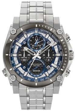 Bulova Men's Chronograph Precisionist Stainless Steel Bracelet Watch 46.5mm