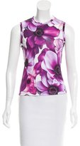 Versace Floral Print Sleeveless Top