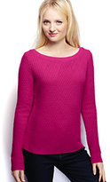 Lands' End Women's Petite Lofty Textured Mix Stitch Boatneck Sweater-Calm Blue