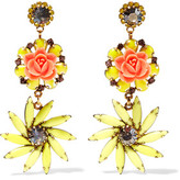 Elizabeth Cole Gold-Tone Resin, Stone And Crystal Earrings