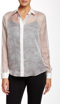 L.A.M.B. Sheer Back Band Blouse
