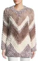 Bagatelle Faux Fur Chevron Jacket