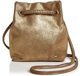 Halston Ali Drawstring Metallic Small Suede Crossbody