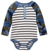 Joe Fresh Camp Striped Henley Bodysuit (Baby Boys)