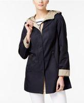 Jones New York Petite A-Line Contrast-Cuff Raincoat
