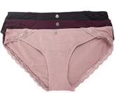 Jessica Simpson Collection Women's Underwear Woodrose, - Woodrose & Wine Ribbed Lace-Trim Cotton Bikini Set - Women