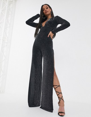 ASOS DESIGN slinky plunge jumpsuit with long sleeve and split leg