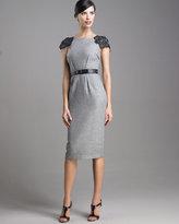 Beaded-Sleeve Sheath Dress